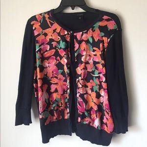 Ann Taylor Floral 3/4 Sleeve Cardigan